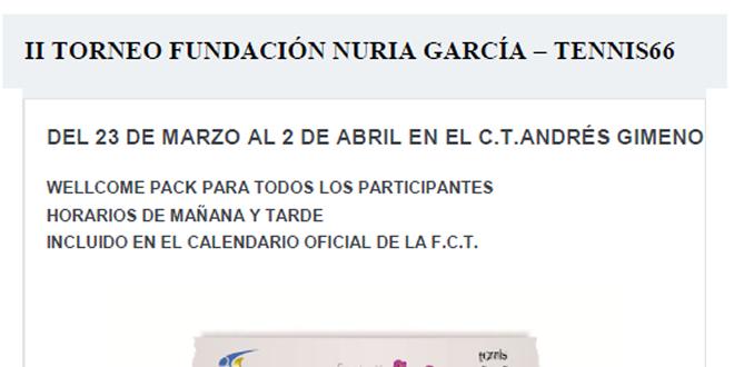 TERMINI INSCRIPCIONS 23 de març | II Torneig Fundación Nuria García – Tennis66