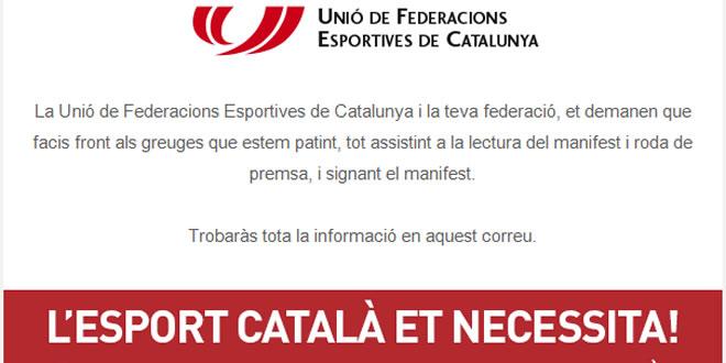 19 de març a les 12 h. | acte públic sobre els greuges de l'esport català