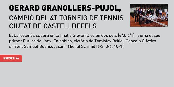 Gerard Granollers-Pujol, campió del 4t Torneig de Tennis Ciutat de Castelldefels