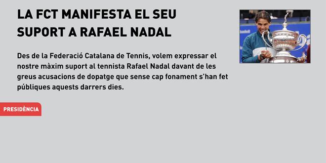 La Federació Catalana de Tennis manifesta el seu suport a Rafael Nadal