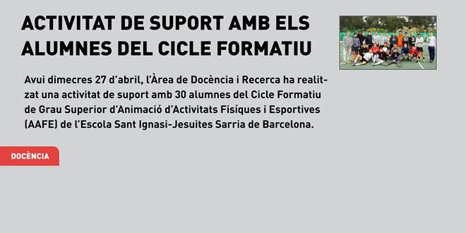 Activitat de suport amb els alumnes del Cicle Formatiu de Grau Superior d'AAFE