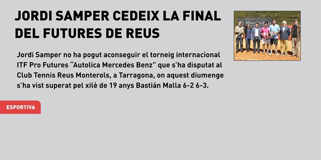 Jordi Samper cedeix la final del Futures de Reus davant el xilè Bastián Malla