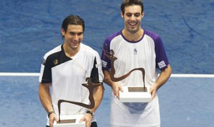 Marcel Granollers (a la dreta) finalista de l'Open 500 de Valencia.