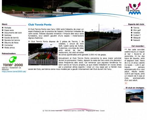 El Club Tennis Ponts ja té en marxa la seva web