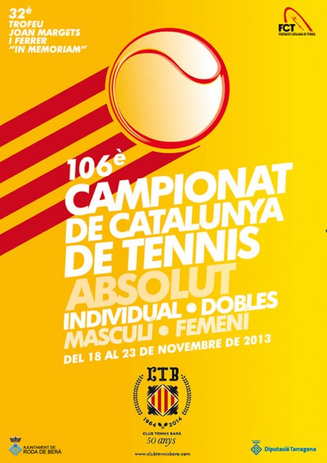 """El CT Barà acollirà el Catalunya absolut TROFEU JOAN MARGETS I FERRER """"in memoriam"""" del 18 al 23 de novembre"""