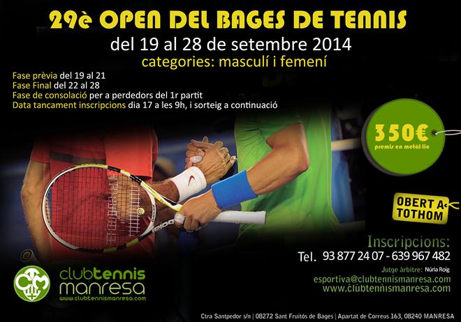 29è OBERT DEL BAGES DE TENNIS al Club Tennis Manresa (350€ de premis en metàl.lic)
