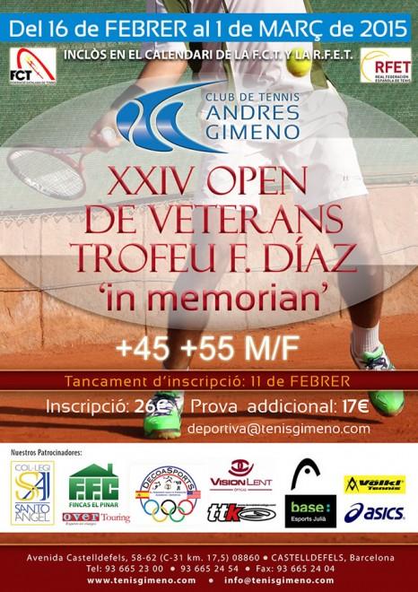 """Tancament inscripcions 11 febrer   XXIV Open de Veterans Trofeu F. Diaz """"In Memoriam"""""""