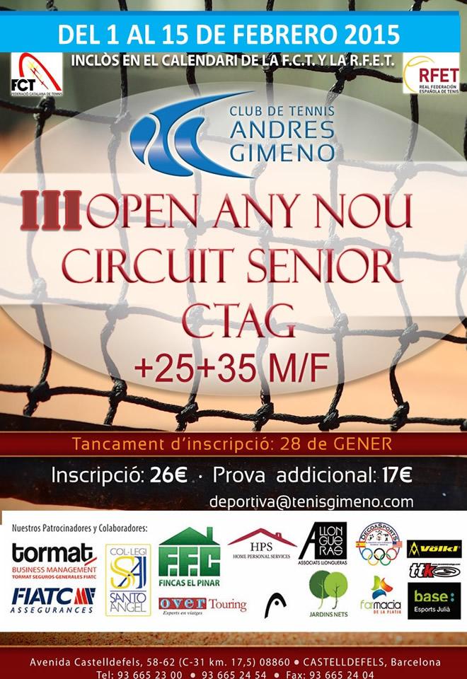 III open any nou  circuit sènior | CT Andrés Gimeno de l'1 al 15 de febrer