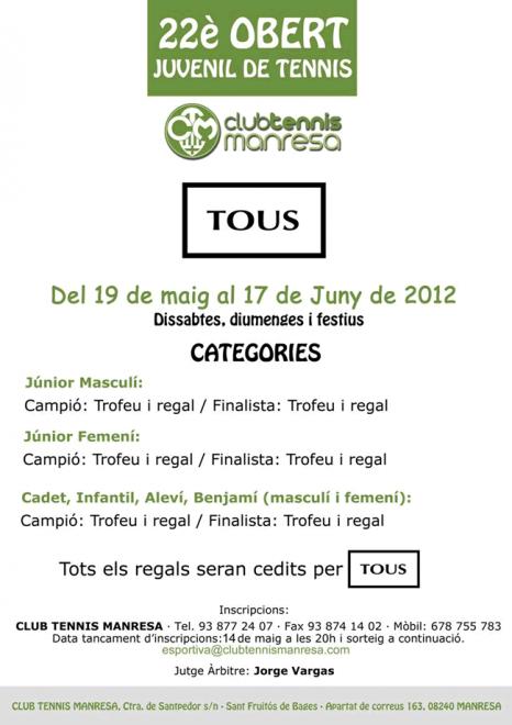 Torneig tennis TOUS 2016 Junior, Cadet, Infantil, Aleví, Benjamí (CT Manresa)